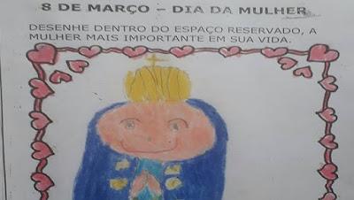 imagem de um desenho de Nossa Senhora feito por uma criança
