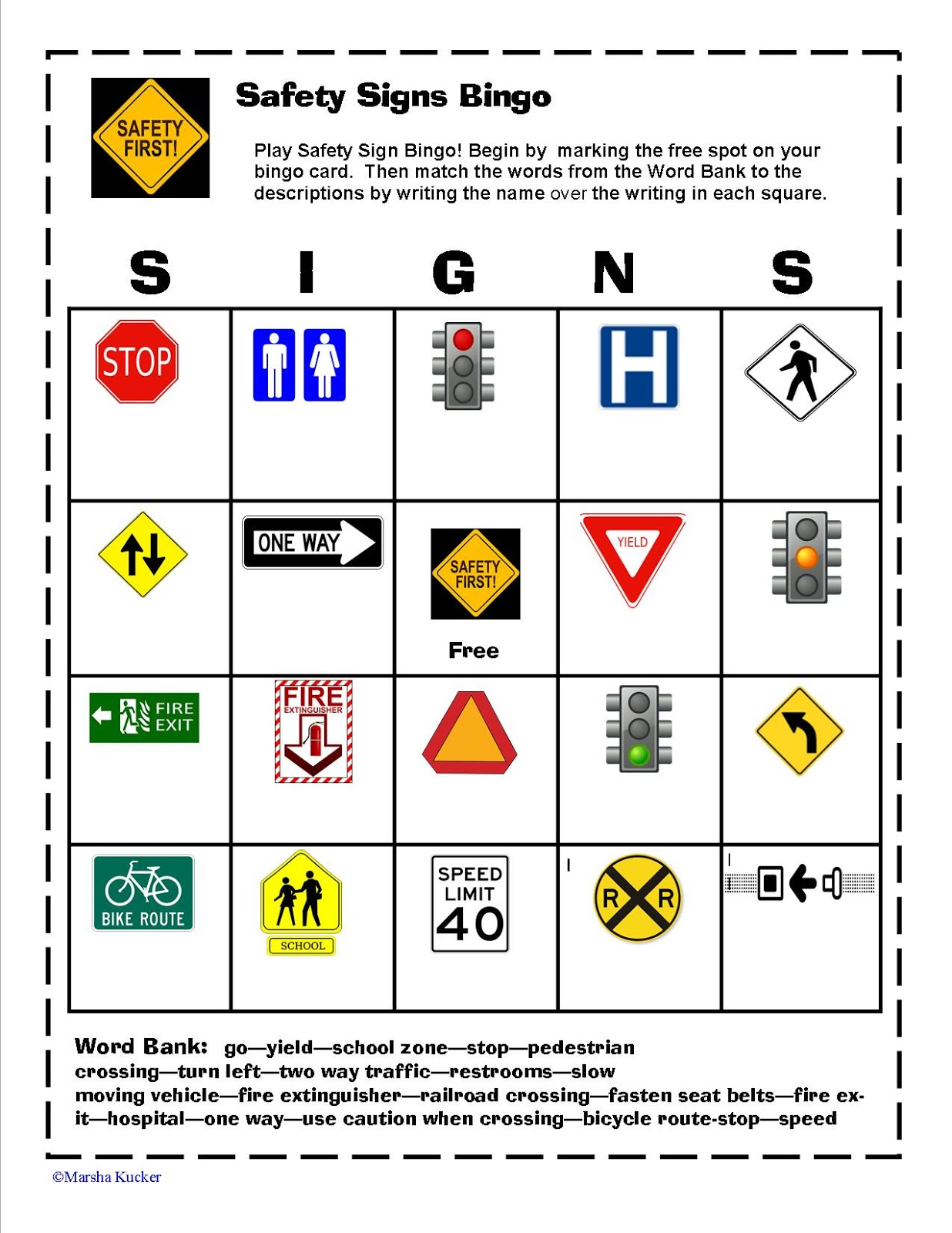 Kidz Learning Connection Safety Signs Bingo