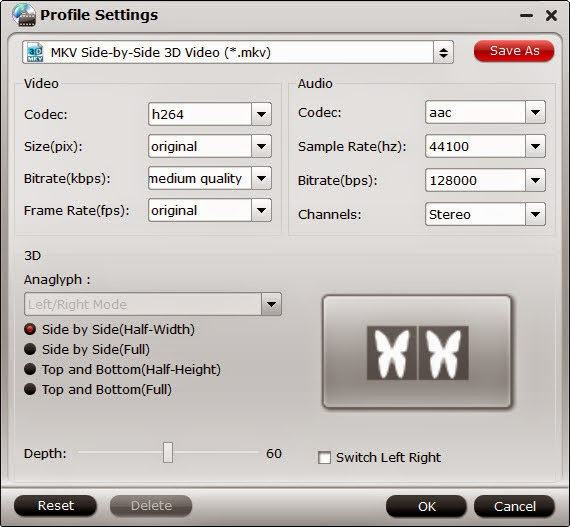 3d sbs mkv video settings