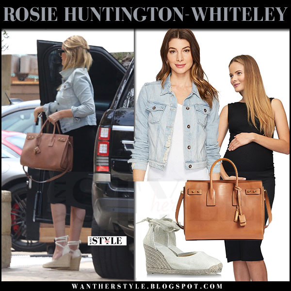 Rosie Huntington-Whiteley in denim jacket paige vivienne, black dress rachel pally and white wedge espadrilles castener what she wore maternity style may 2017