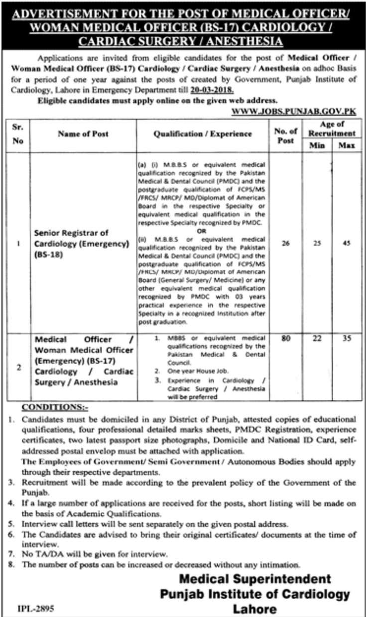 Jobs In Punjab Institute Of Cardiology PIC Lahore 2018 for 106 Vacancies