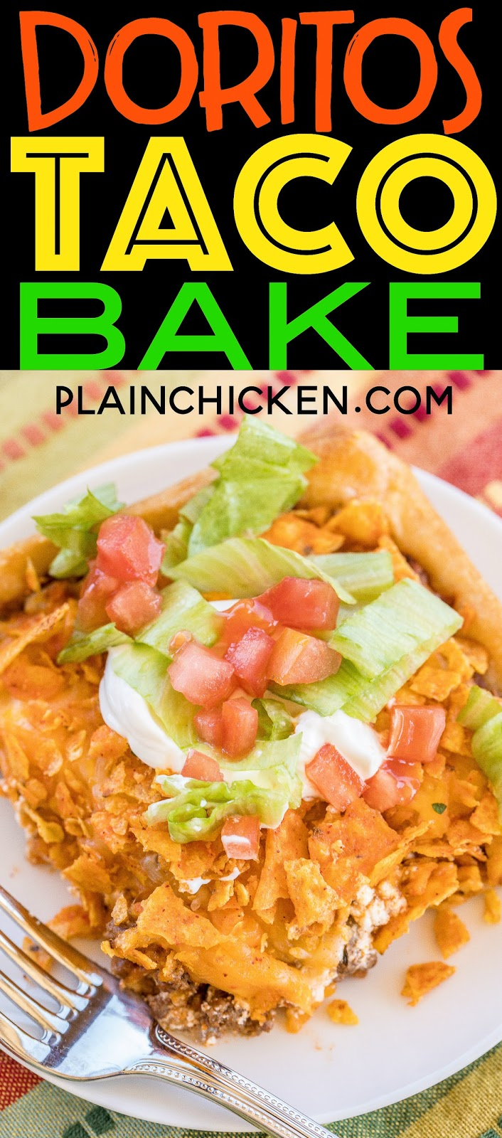 Doritos Taco Bake - OMG! SO good! crescent rolls topped with taco meat, tomato sauce, sour cream, cheese and doritos! Kids gobble this up! Ready in 30 minutes. Quick,easy, kid friendly and delicious! You can't beat it! #mexican #casserole #Doritos #kidfriendly