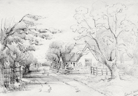 Sketch of Water End school, circa 1850. Pencil drawing by Mrs. F. R. Faithfull.