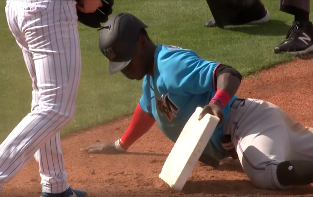 Miami Marlins SS Jazz Chisholm steals third base, tries to take it with him 2/22/2020