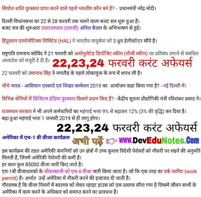 22,23,24 फरवरी करंट अफेयर्स 2019 || february current affairs 2019 in hindi