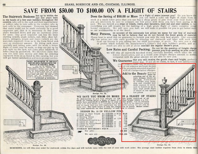 Three options of Staircase looks in 1912 Sears Building Materials catalog