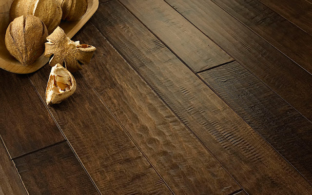 Dark, slightly distressed hardwood floor