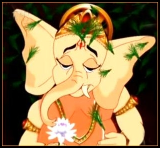 durva grass on bal ganesh head