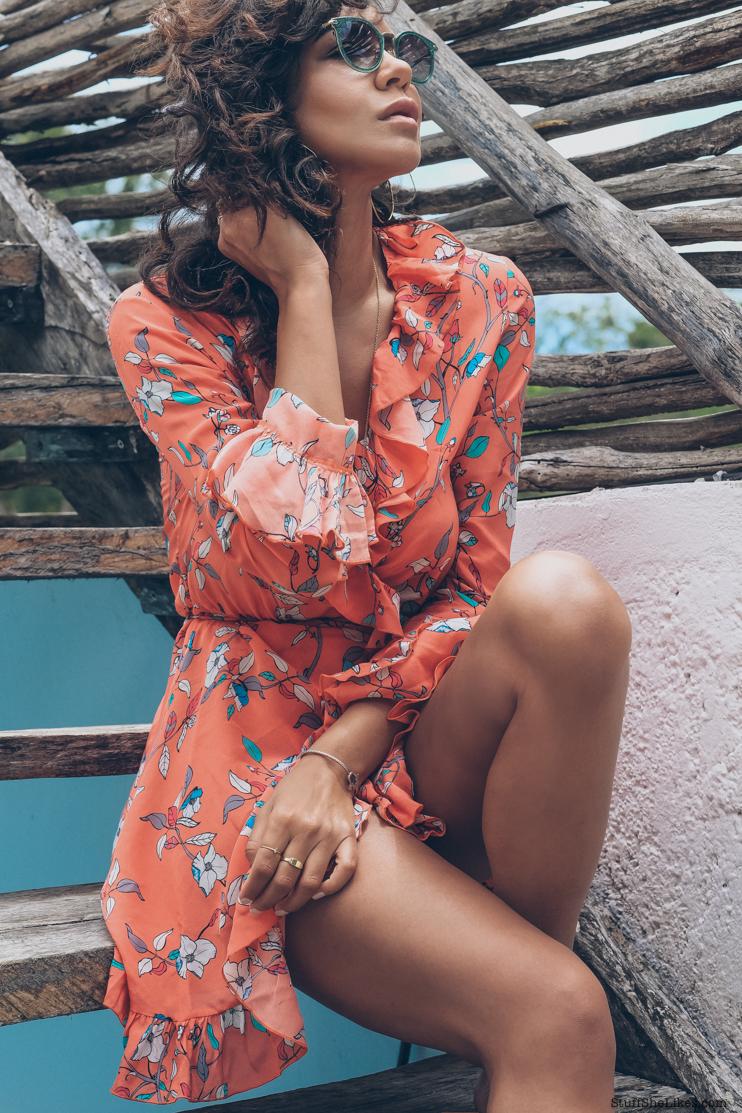 floral dress, floral wrap dress, tulum, paloma blue, orange dress, fashion blogger, top fashio blogger, Taye Hansberry, hoop earrings, curly hair, mexico