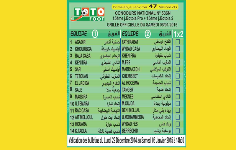 TOTO FOOT COUNCOURS NATIONAL N 536N
