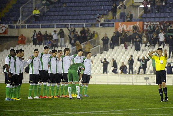 Racing Santander players refuse to play at the start of their match against Real Sociedad