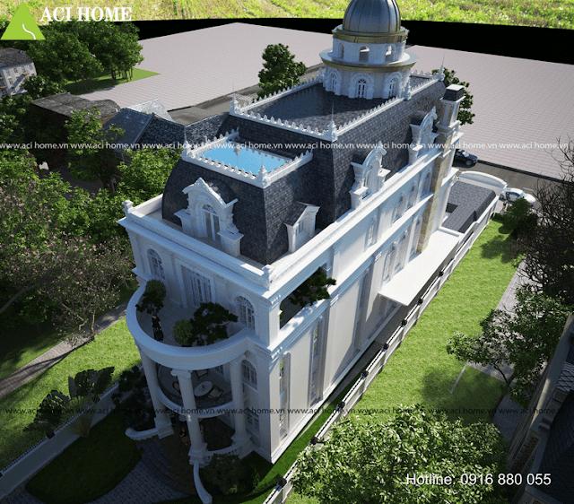 Thiết kế biệt thự cổ điển 5 tầng - mặt sau của biệt thự