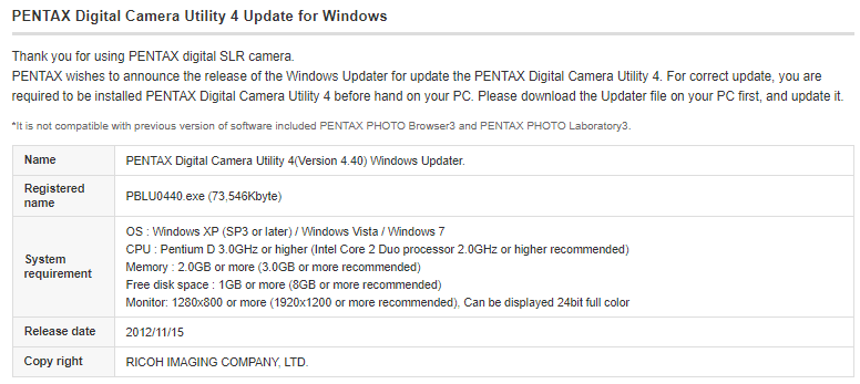 Pentax Utility 4 Update and Download for Firmware and Software
