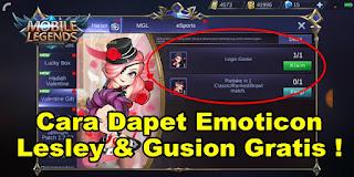 Cara Mendapatkan Emoticon Lesley dan Gusion Mobile Legends Gratis