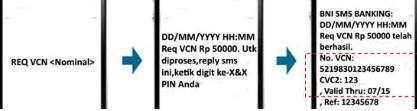 Format sms Permintaan Request VCN kartu debit bni untuk transaksi online