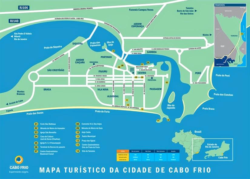 O que fazer em Cabo Frio - mapa dos atrativos de Cabo Frio
