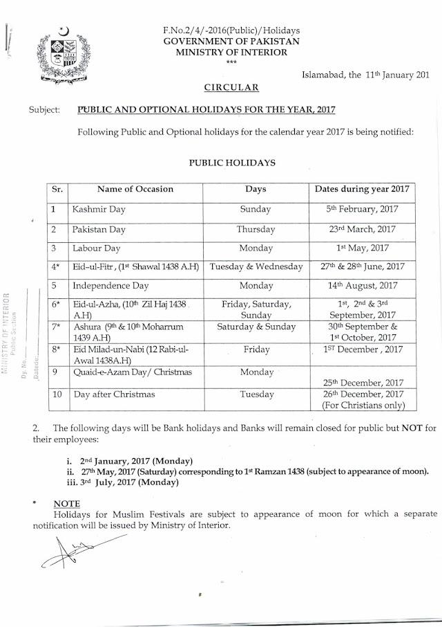 PUBLIC AND OPTIONAL HOLIDAYS 2017 PAKISTAN