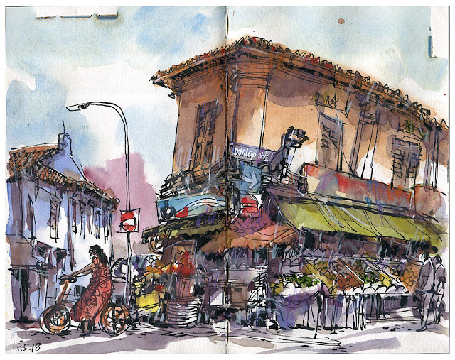 Dunlop & Clive Street, Little India Singapore Urbansketchers