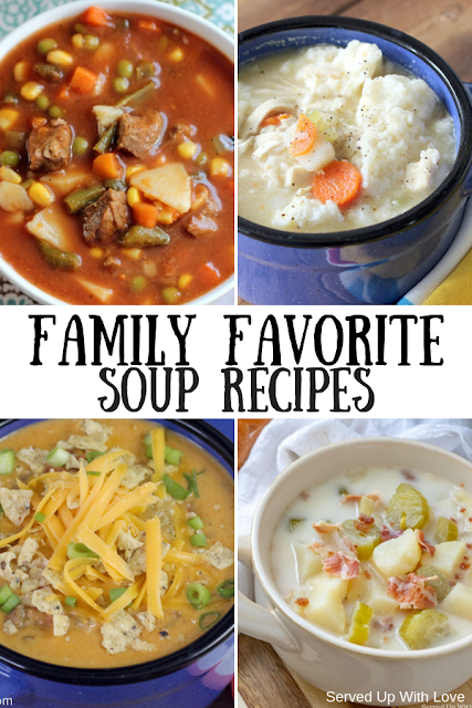 Easy Family Favorite Soup Recipes from stovetop to crock pot include Cheesy Taco Soup, Crock Pot Potato Soup, Chicken and Dumplings, Bacon and Corn Chowder, Beef Stew, Vegetable Beef Soup, Taco Soup, and more.