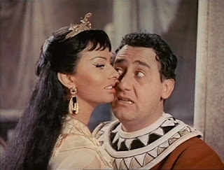 Alberto Sordi with Sophia Loren in the 1954 film Due notti con Cleopatra (Two Nights with Cleopatra)
