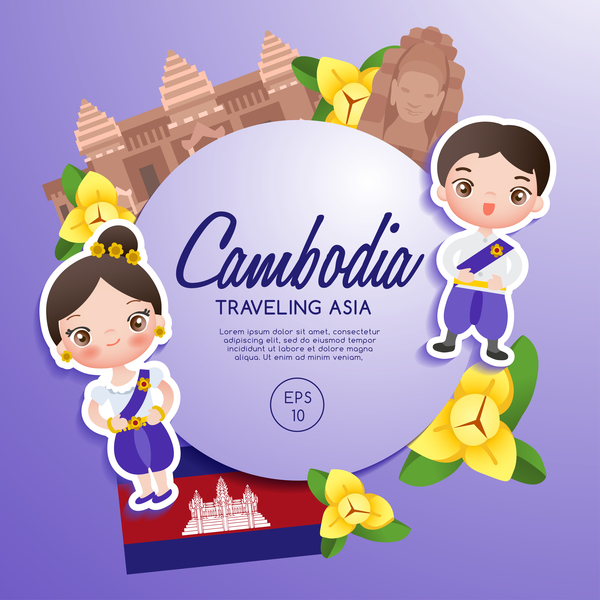 Free EPS file Cambodia travel cartoon template Free vector