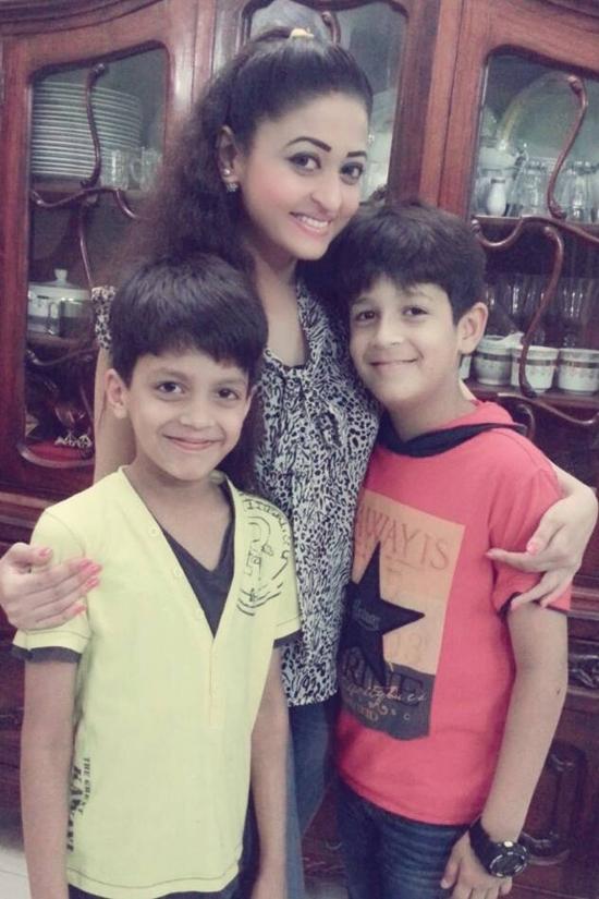Saddaf Omair with her sons