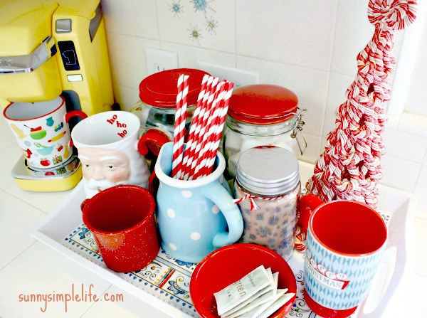 hot cocoa bar, coffee station, Christmas decor