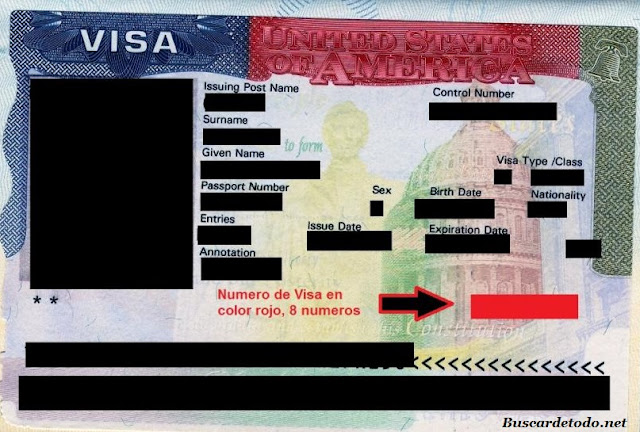 Visa americana es un número de 8 cifras de color rojo. Cuál es el número de mi visa americana. Dónde está el número de la visa americana