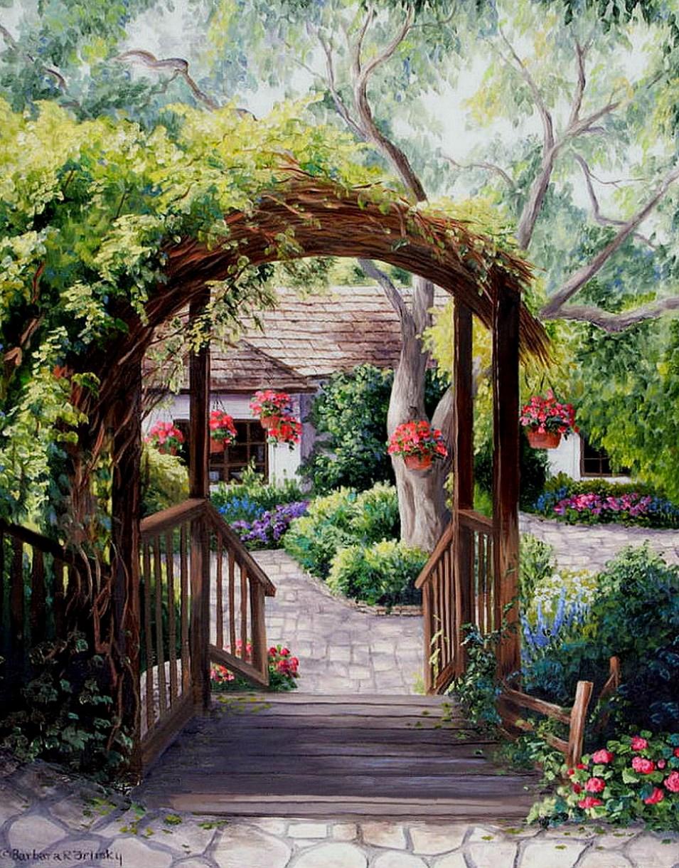 Cuadros modernos pinturas y dibujos cuadros de casas con - Casas y jardines ...