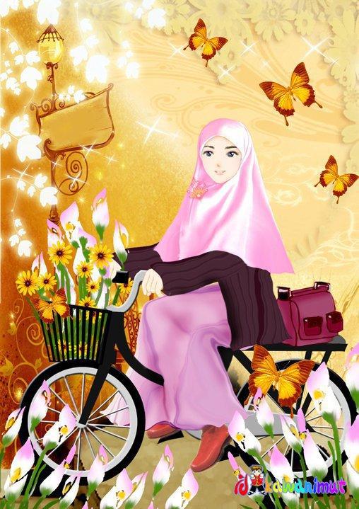4600 Gambar Kartun Muslimah Naik Motor Terbaru