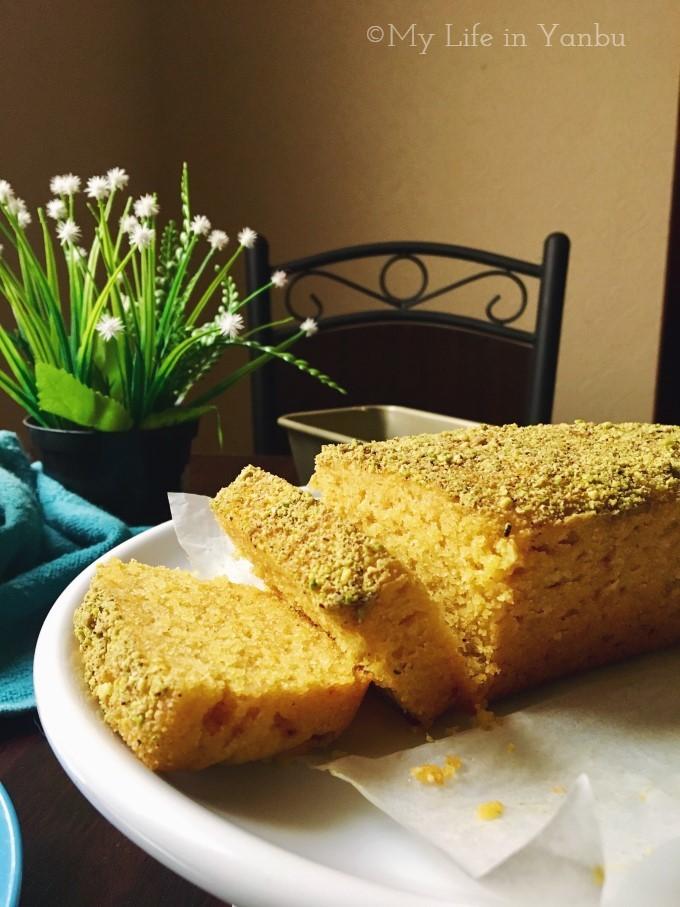 Semolina Mango Yoghurt Cake with Mastic