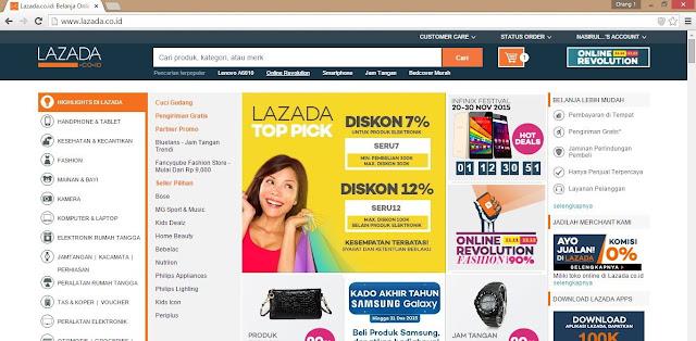 Halaman depan Lazada.co.id