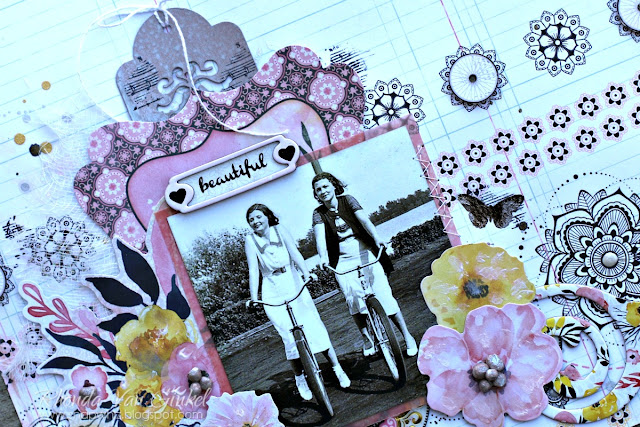 BoBunny Petal Lane Collection and Pentart Lasur Interior Gel in Country Rose Mixed Media Scrapbook Page designed by Rhonda Van Ginkel