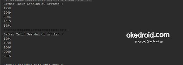 Output Hasil Contoh Code Metode Ascending Angka Integer Java