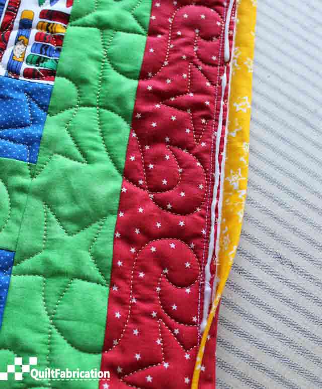 Piped Quilt Binding using glue to hold the front