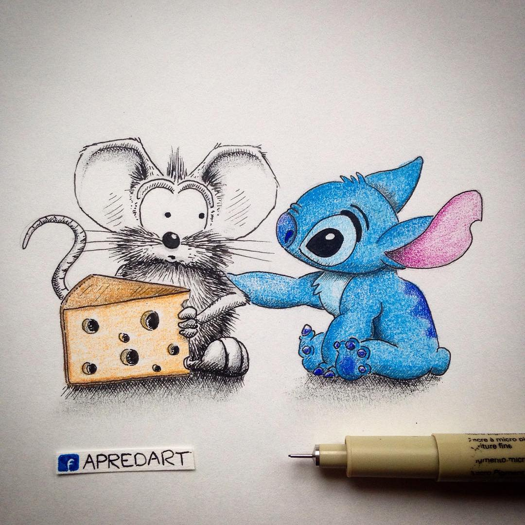 09-Lilo-and-Stitch-Loïc-Apreda-apredart-Drawings-of-Rikiki-the-Mouse-and-his-Famous-Friends-www-designstack-co