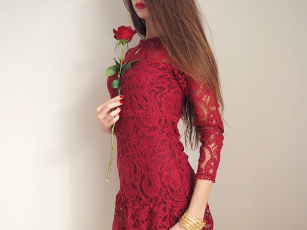 150. Czerwona koronkowa sukienka na Walentynki | ZAFUL.