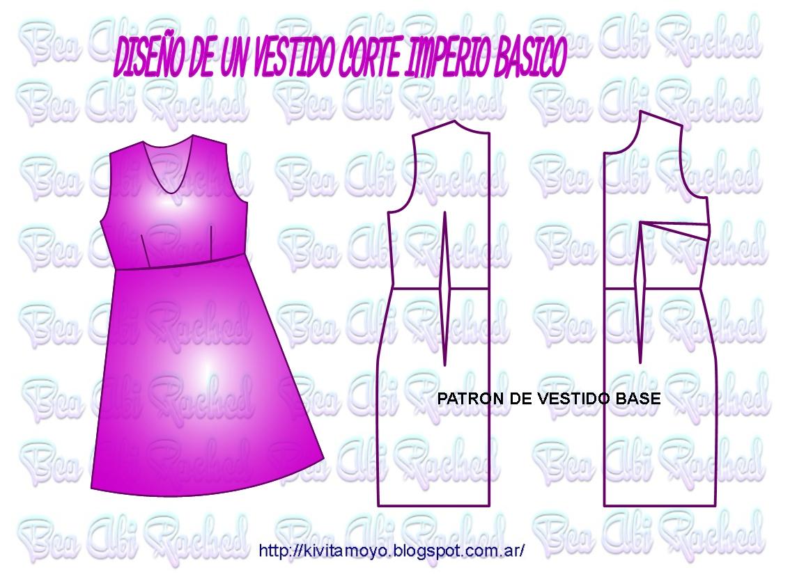 b2040e16d4 TRAZADO DE VESTIDO CORTE IMPERIO SIMPLE A PARTIR DEL PATRON DE VESTIDO BASE