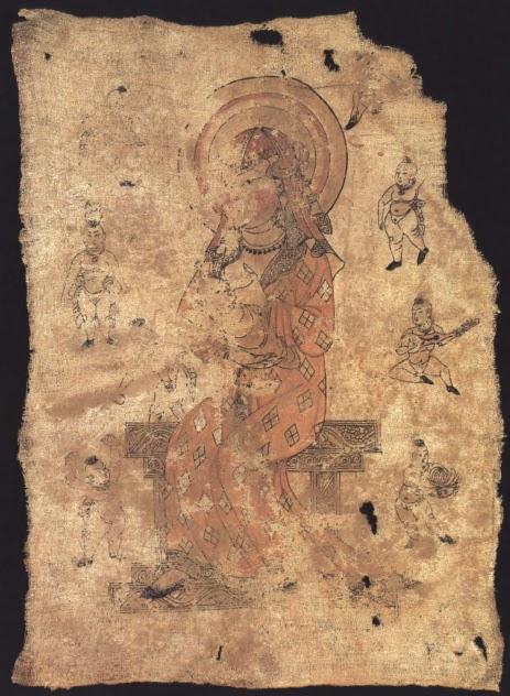 064fa9f189 Hariti, az újszülöttek, gyerekek és anyák védelmezője. Templomi zászló,  selyemre festett, Turfan környéke, i. sz 9. sz.