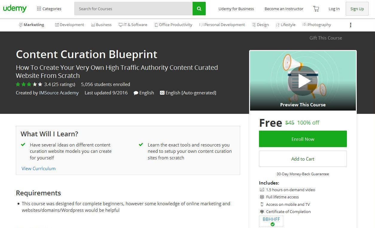Content Curation Blueprint Udemy Free 100 Off Couponis