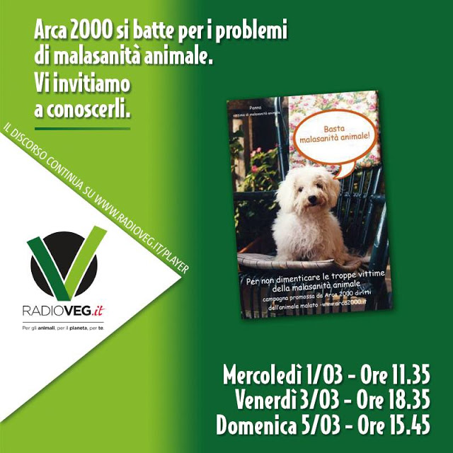 malasanità animale Arca 2000 su Radioveg.it