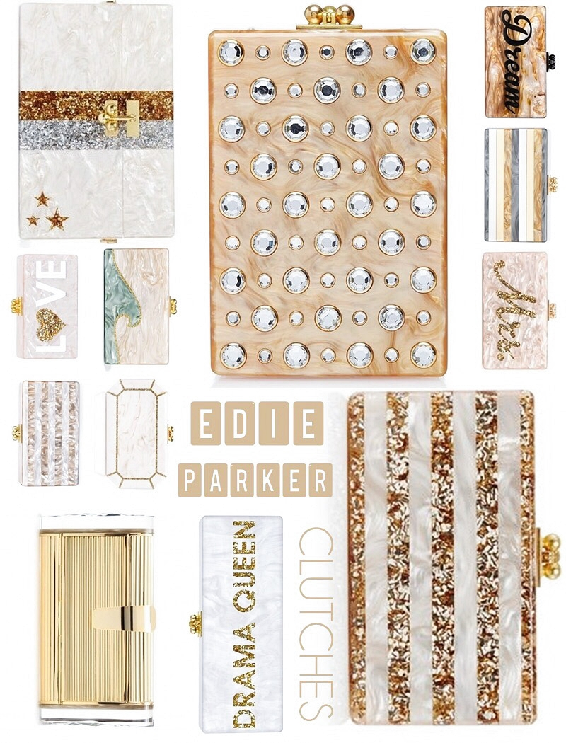 Edie Parker white and gold acrylic clutches
