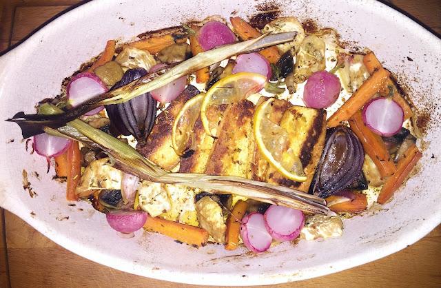 Tofu pieczone z warzywami