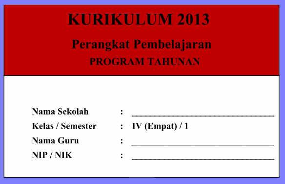 Prota Kelas 4 Kurikulum 2013 Revisi Semester 1 dan 2