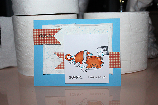 Toilet Paper Cat card by Deb | Naughty Newton Stamp set by Newton's Nook Designs #newtonsnook