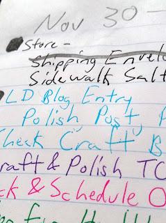 A closeup of a partial to-do list for November 30th.