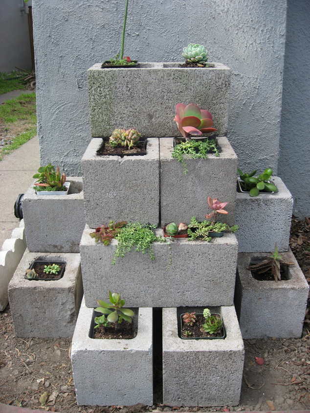 Girl on Bike: Todays Garden Project: Cinder Block ... on Backyard Cinder Block Wall Ideas id=70650