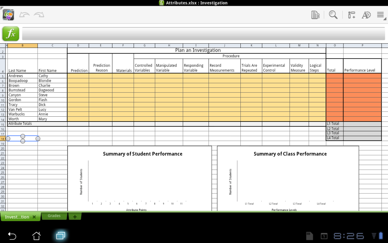 Excel For Educators Excel Apps For Android Quickoffice