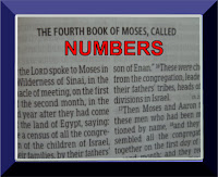 A photo of the first page of the book of Numbers in the Old Testament book of Numbers in red capital letters inside of a blue frame, (c) Erika