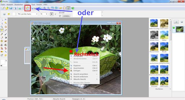 Screenshot PhoXo zum Einfügen von Objekten